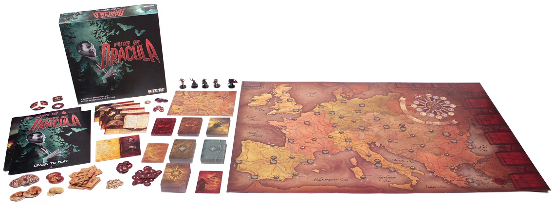 all game components spread out on display, including board game box, miniatures, cards, tokens, character boards, game boards, maps, and rulebooks