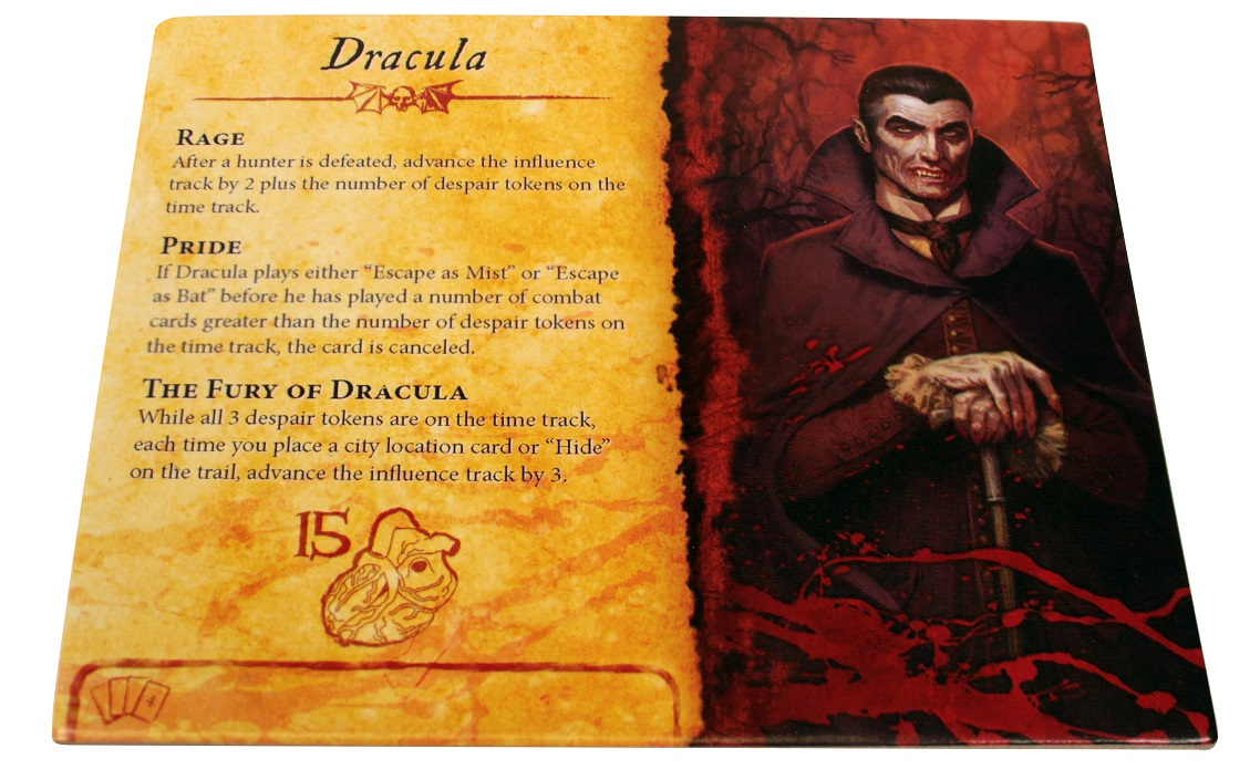 a game card depicting an illustration of Dracula on the right, and various stats/instructions on what the card does appearing on the left