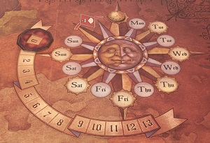 closeup of the game board, with an illustration of a sun, with various numbers and days of the week appearing on the ends of the sun's rays