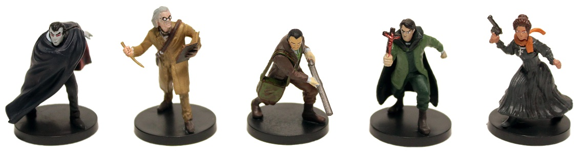 five game miniature figures, including Dracula, and various human characters including three men and one woman