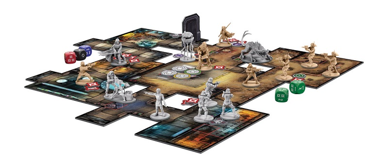 Imperial Assault board game set up for play, including minis, cards and tokens