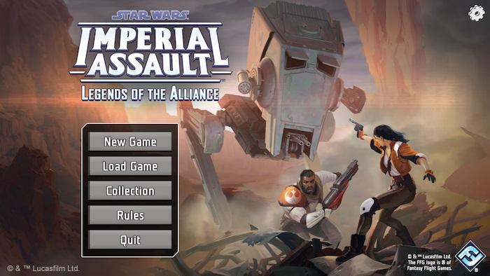 screenshot of Star Wars Imperial Assault Legends of the Alliance companion app home screen