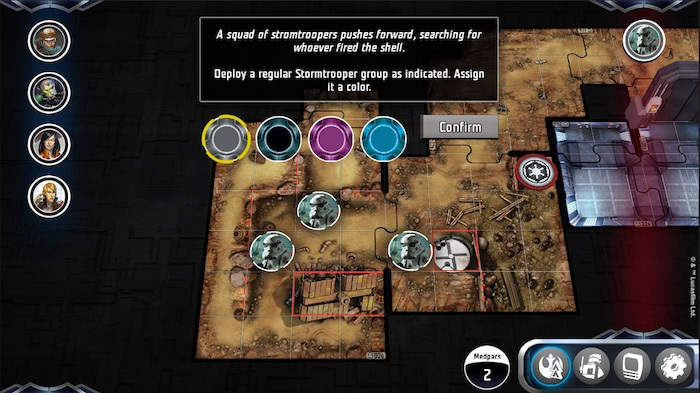 screenshot of Star Wars Imperial Assault Legends of the Alliance companion app, instructing user to deploy a stormtrooper