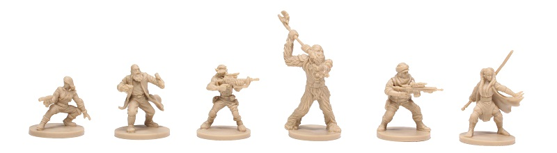 six tan-colored plastic miniatures, including Chewbacca