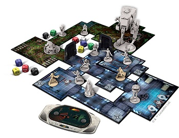 Imperial Assault board game set up for play, including game board tiles, dice, cards, and minis