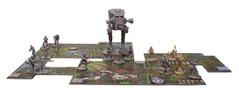 close up of Imperial Assault board game set up for play, including minis and game board tiles