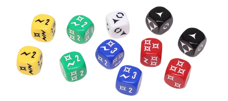 Imperial Assault board game assorted dice in the colors of green, red, yellow, white, blue, and black