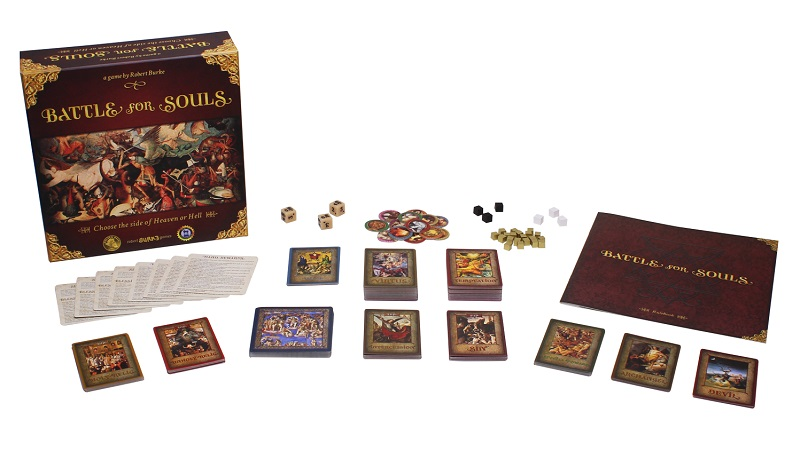 Battle for Souls game box, cards, wodden marker cubes, custom dice, and rulebook on display