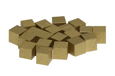 Gold painted wooden cube markers