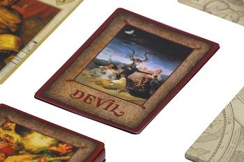 Close-up of Devil card in game setup