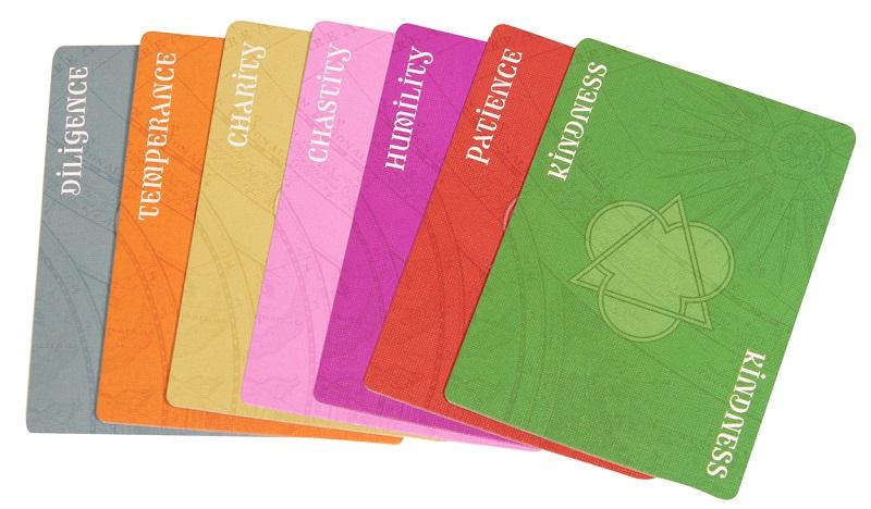 Spread of multicolored Virtue cards