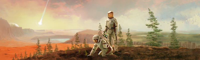 game art depicting two astronauts standing outside on rocky ground, with trees behind them and a falling comet in the sky
