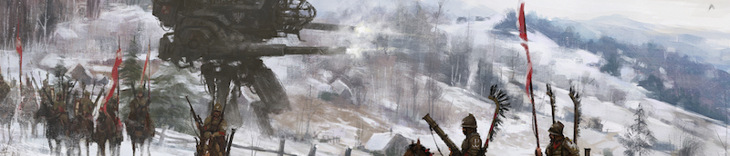 game art depicting an army in the snow, surrounded by large machines