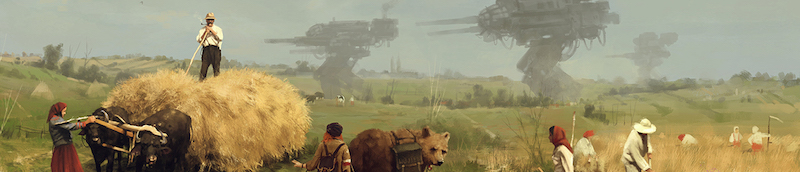 game art depicting people doing agricultural work with large machines looming in the background