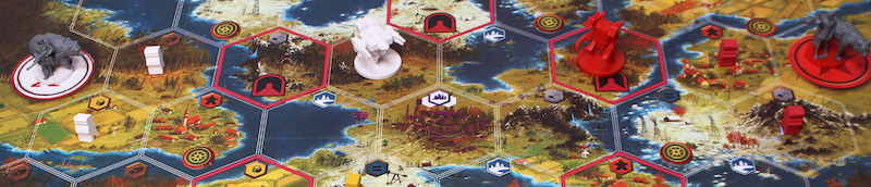 closeup of game board with game pieces placed upon it
