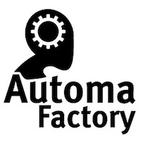 Automa Factory logo depicting a stylized human head in profile, black and white