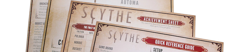 closeup of Scythe rulebooks, including Quick Reference Guide, Achievement Sheet, and others whose titles cannot be seen