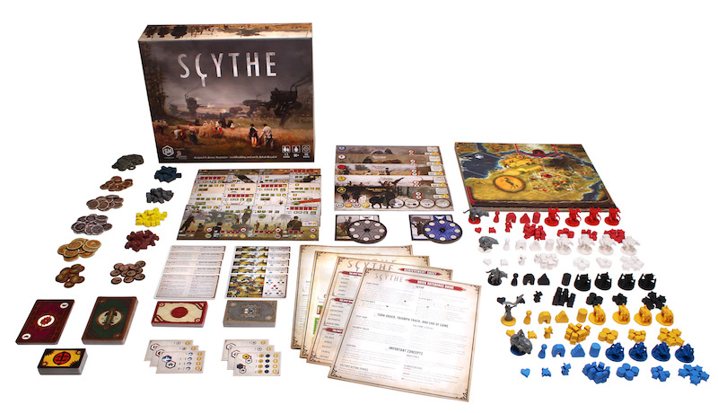 all Scythe game components laid out, including board game box, tokens, game pieces, cards, rulebooks, player boards, and game board