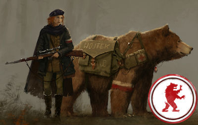game art depicting a woman wearing military regalia standing in front of a bear, with a red and white game token appearing on the right
