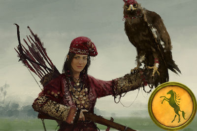 game art depicting a woman with a hawk perched on her right arm, with a yellow game token appearing on the right