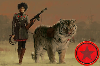game art depicting a woman holding a gun, standing next to a tiger; a red game token appears on the right