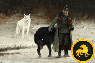 game art depicting a man wearing military regalia standing next to one white wolf and one black wolf, with a yellow game token appearing on the right