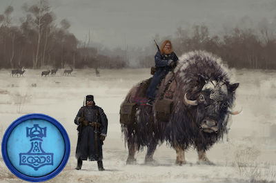 game art depicting two men in the snow, one riding a large animal, with a blue token appearing on the left