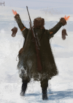 game art depicting the back of a person standing in the snow with their arms raised and mittens hanging from their wrists
