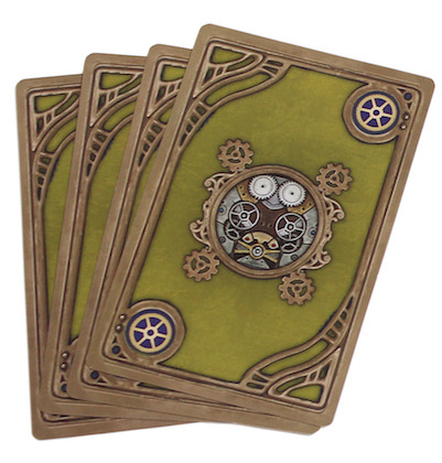 three game cards laid out, with the backs showing