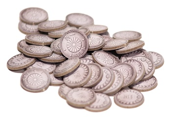 pile of round, flat game tokens