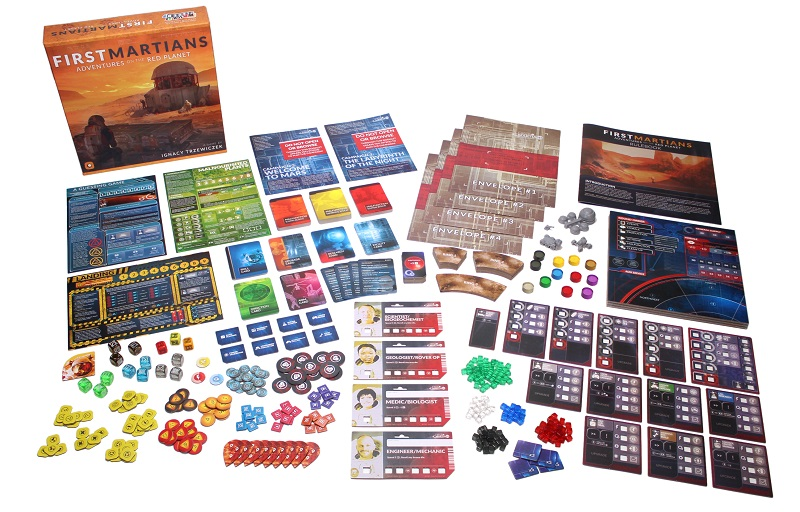 all game components laid out on display, including board game box, player boards, character boards, game boards, tokens, dice, miniatures, game pieces, player envelopes, and rulebooks