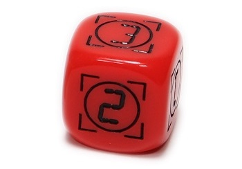 a red rounded die, showing two sides with the numbers '2' and '3'