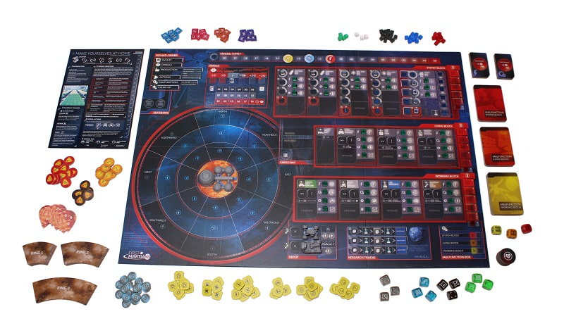 multiple game components laid out on display, incuding game board, multicolored tokens, cube-shaped game pieces, cards, and dice