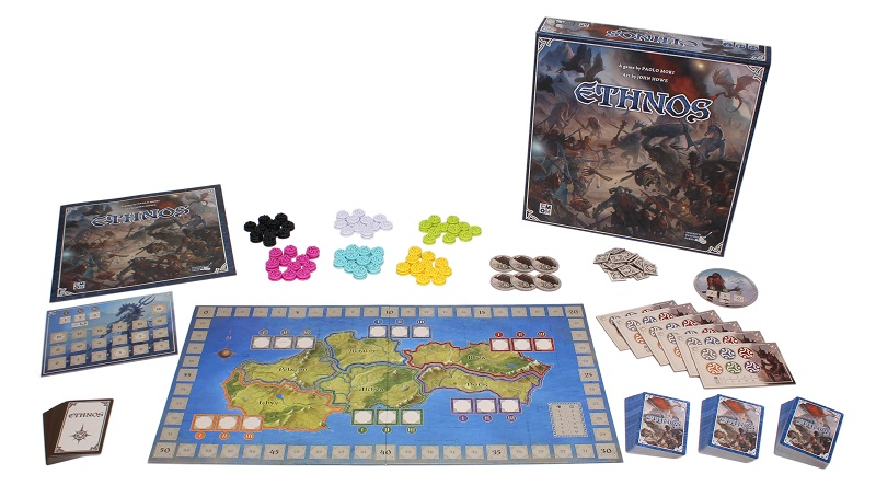 The components for Ethnos laid out to display the content of the box.