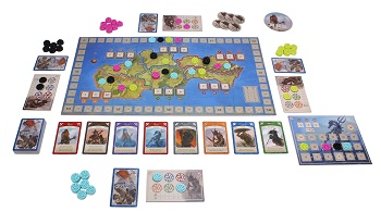 An image of the game setup for Ethnos. The game board is set out, surrounded by cards and player boards.