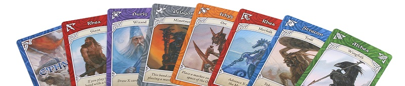 A spread of cards of the various races in Ethnos.
