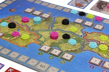 A closeup of the game board during a game of Ethnos in progress.