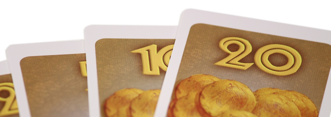 Close-up shot of gold cards spread out