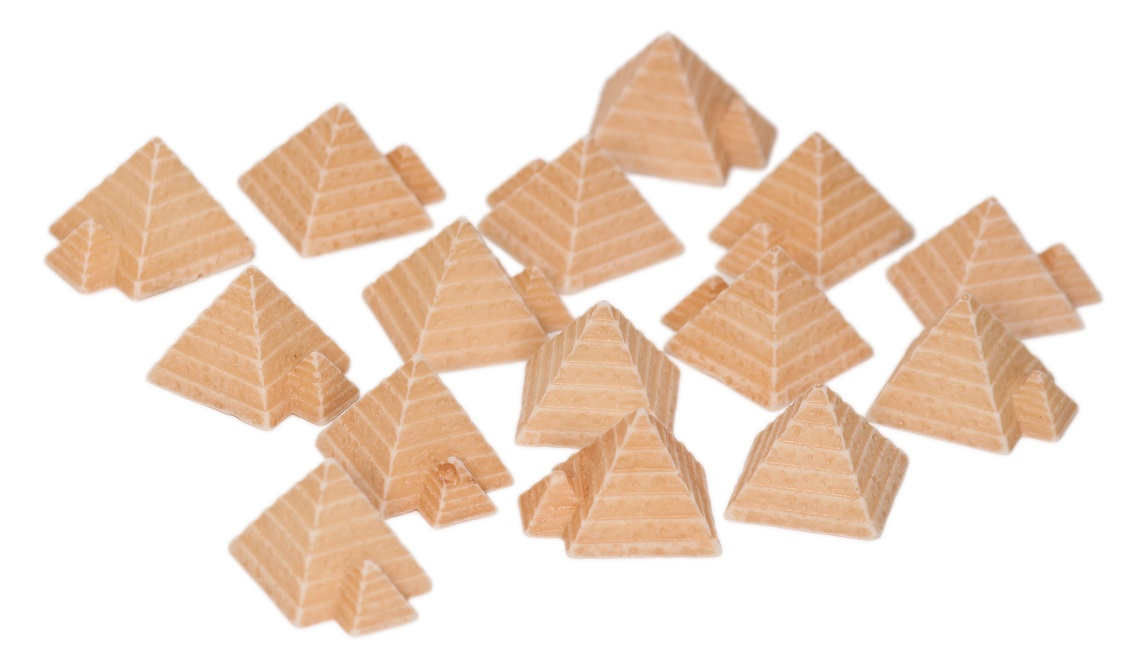 Group of wooden pyramid components