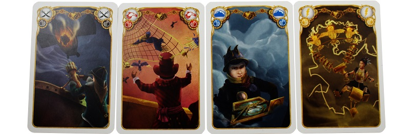 closeup of four game cards laid out, each featuring a character or scene from the game
