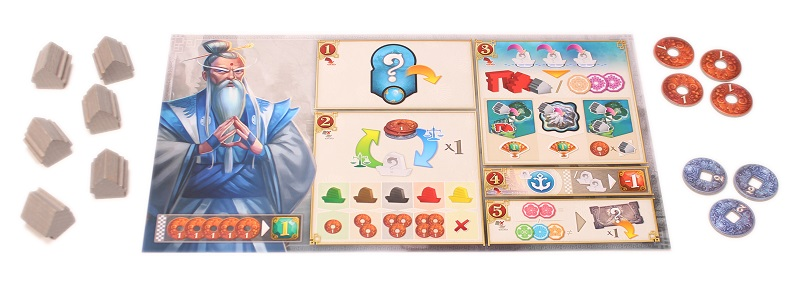 a game player's board, surrounded by tokens and game board pieces