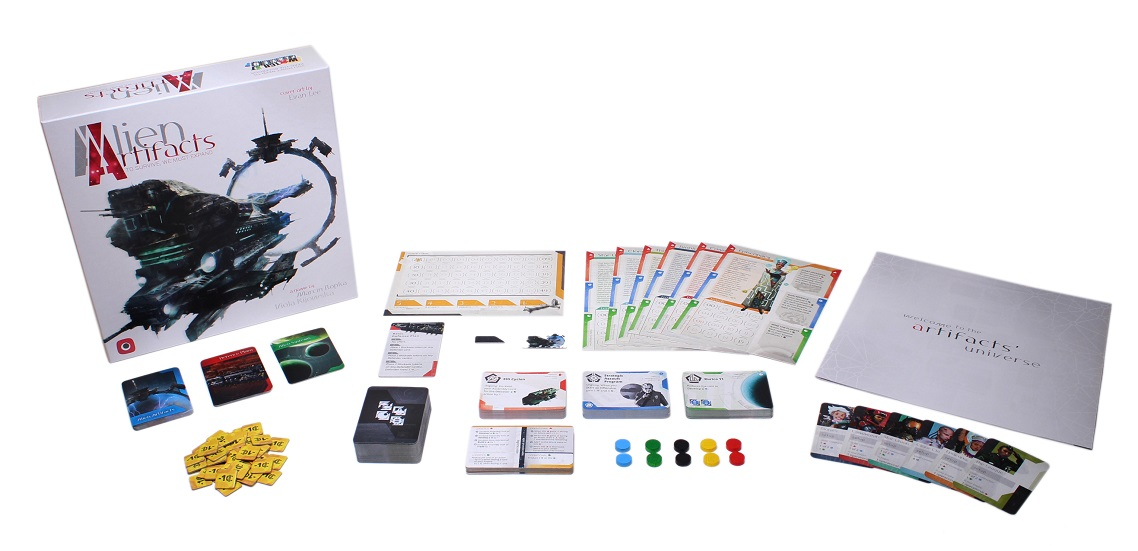 Alien Artifacts game components, including game box, cards, rulebook, tokens and character boards