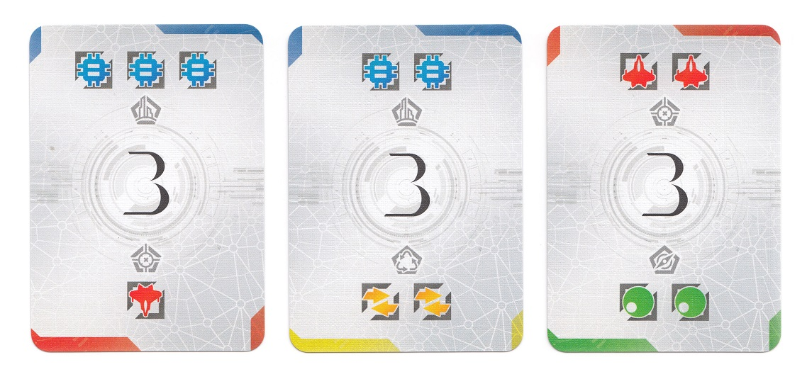 Three game cards with the number 3 on them, and the colors of blue, red, yellow and green