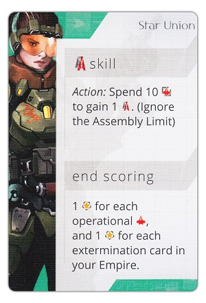 Game card for Star Union, listing skill and scoring attributes
