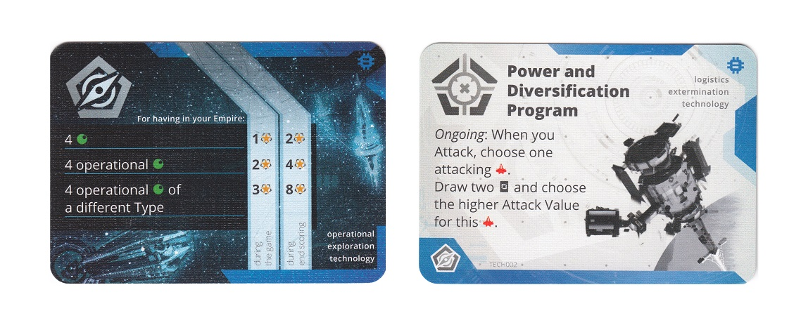 Two game cards, front and back, of the Power and Diversification Program