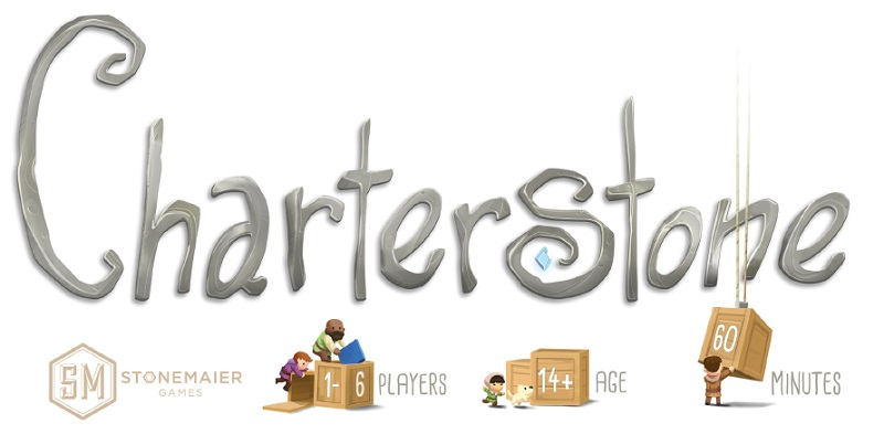Charterstone game logo above icons reading '1-6 Players', '14+ Age' and '60 Minutes'