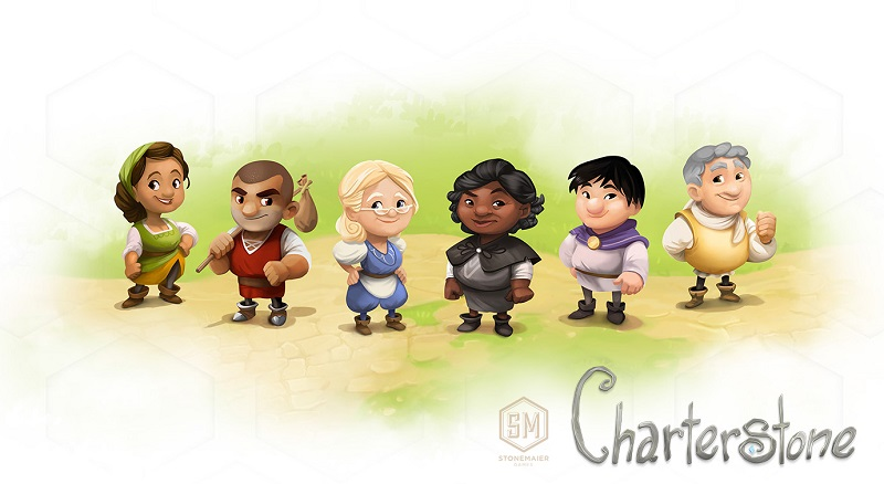 illustration featuring six characters from the Charterstone game, three female and three male, and the Charterstone game logo