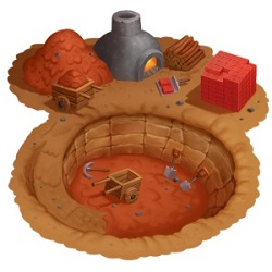 game illustration of a mine with mining tools laying around it
