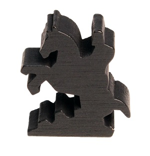 Black silhouette of a knight on a horse wooden piece