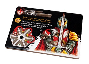 Rectangular punchboard component with Templar art and information